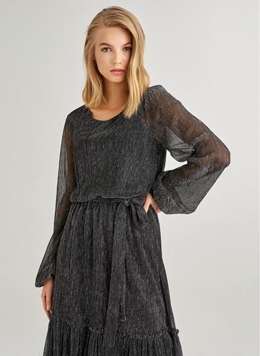 Monamoda Simli Volanlı Midi Elbise Siyah